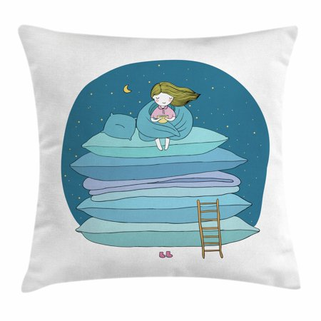 Kids Throw Pillow Cushion Cover Little Girl Sitting On The Top Of A Inspiration Little Girl Decorative Pillows