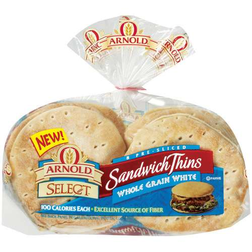 Arnold: Select Whole Grain White Pre-Sliced Sandwich Thins, 8 Ct