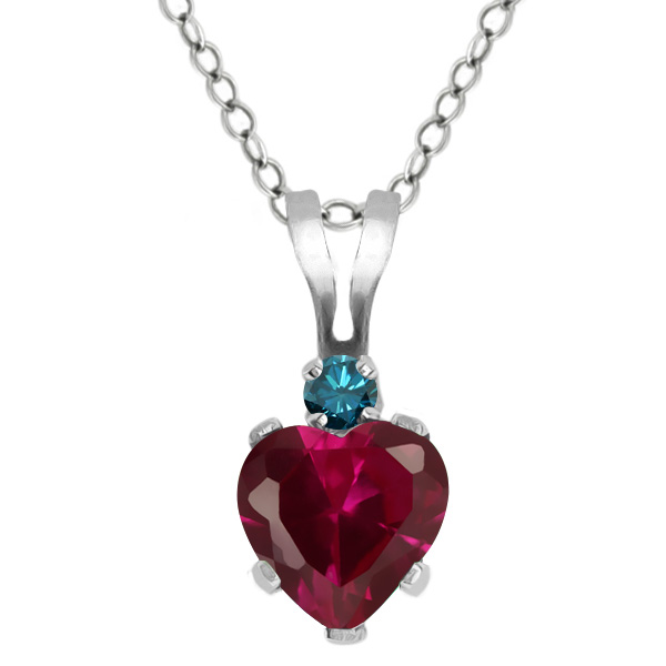0.63 Ct Heart Shape Red Created Ruby Blue Diamond 925 Sterling Silver Pendant