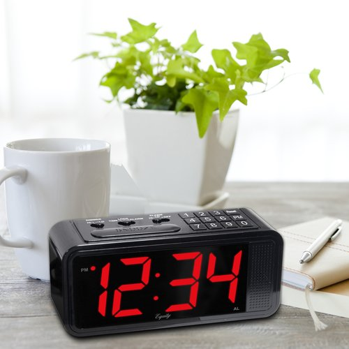 Equity by Lacrosse Quick-Set LED Alarm Clock, Black