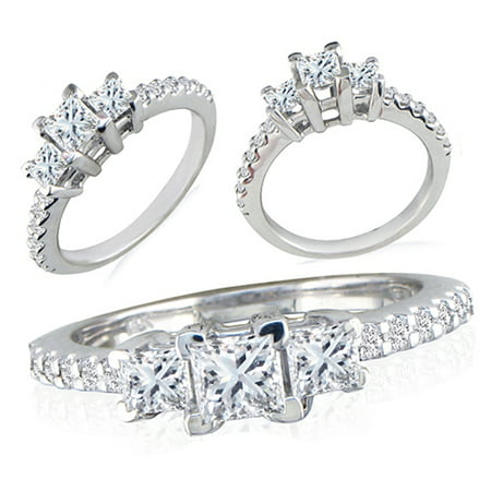Dazzlingrock Collection 1.50 Carat (ctw) Sterling Silver Round & Princess Cut Cubic Zirconia Bridal Ring 1 1/2 CT, Size 6.5