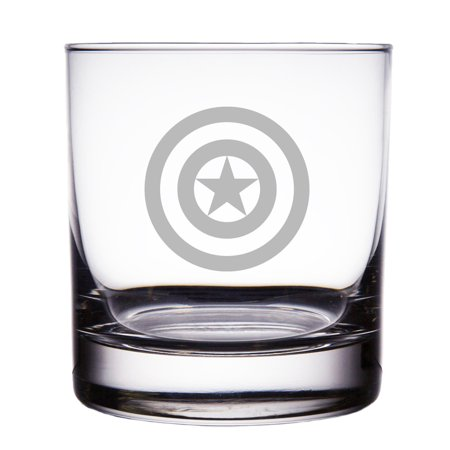 Captain America Engraved 10 oz Rock Glass
