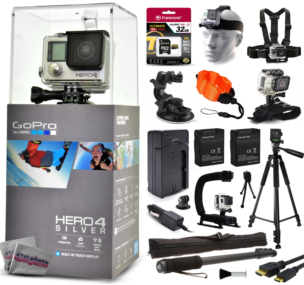 """GoPro Hero 4 HERO4 Silver CHDHY-401 with 32GB Card + Head/Chest Mount + Suction Cup + Floaty Strap + Wrist Glove + 60? Tripod + Two Batteries + Travel Charger + Opteka X-Grip + 67"""" Monopod + More GPH4SNEW32GBK26"""