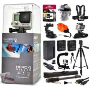 """GoPro Hero 4 HERO4 Silver CHDHY-401 with 32GB Card + Head/Chest Mount + Suction Cup + Floaty Strap + Wrist Glove + 60? Tripod + Two Batteries + Travel Charger + Opteka X-Grip + 67"""" Monopod + More"""