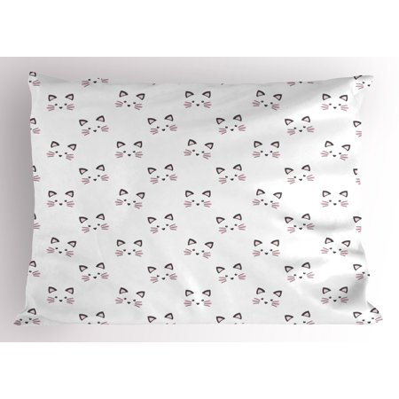 Kitten Pillow Sham Sketching of a Blushing Cat Face Features Cartoon Style Hand Drawn Cat Whiskers, Decorative Standard Size Printed Pillowcase, 26 X 20 Inches, Grey Pale Pink, by Ambesonne - Cartoon Hands