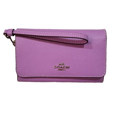 Coach Women's Signature Crossgrain Leather Flap Phone Wallet - Iris/Silver Soho Signature Flap