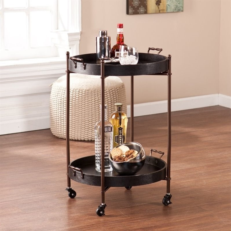 Southern Enterprises Alfred Two-Tier Round Butler Table in Black