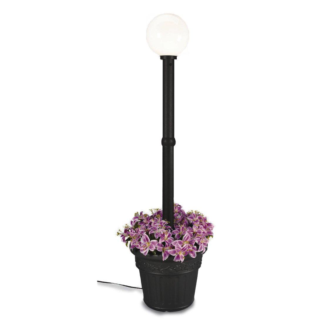Patio Living Concepts Milano 82 Inch Black w  White Globe Lantern Planter by Patio Living Concepts