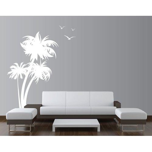 Innovative Stencils Palm Coconut Tree with Seagull Birds Nursery Wall Decal