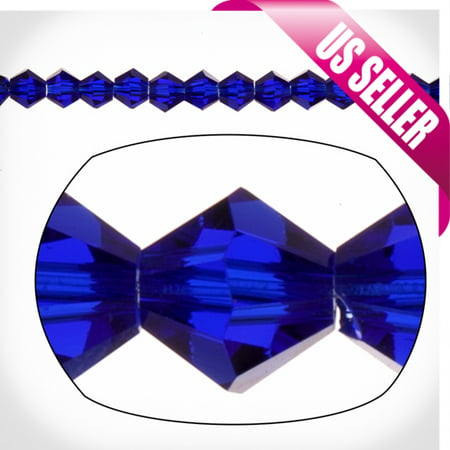 - Sapphire Blue Bicone Crystal Beads 4mm, 16-Facet Surface Cutted Crystals, 100cnt per string of 16 inchs