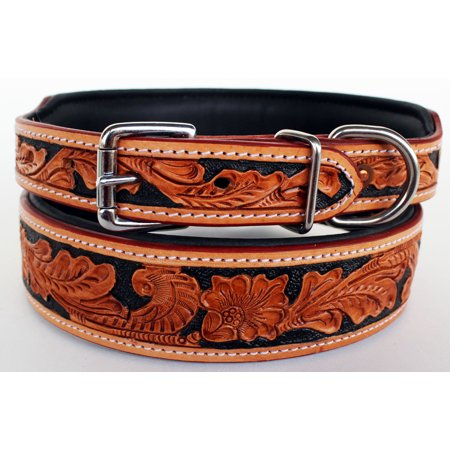 Hand Tooled Dog Puppy Collar Cow Leather Amish Made USA