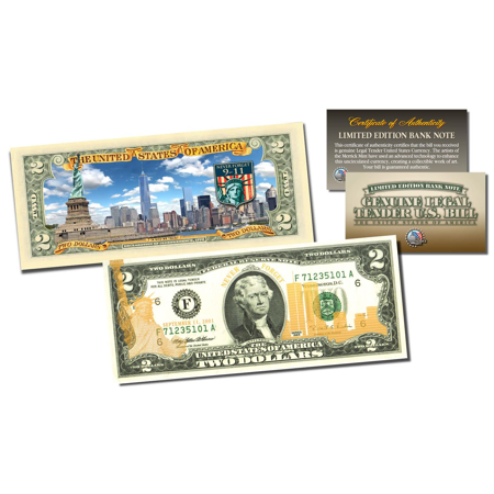 Official 9/11 WTC Skyline Duo Gold Leaf Front & Colorized Back Genuine $2 Bill (100 Dollar Bill Front And Back)