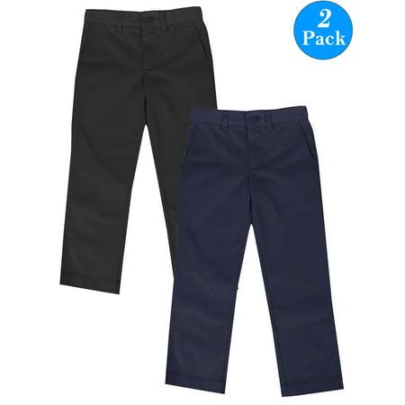 Boys Flat Front School Uniform Pants (2-Pack) (Littile Boys) (Boys School Uniforms Pants)