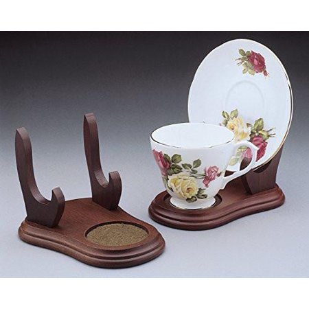 Set Of 2 Stands Cup And Saucer Wood Display Stands Walnut Finish Tea Cup Display Tea Cup Stand Wood Stand