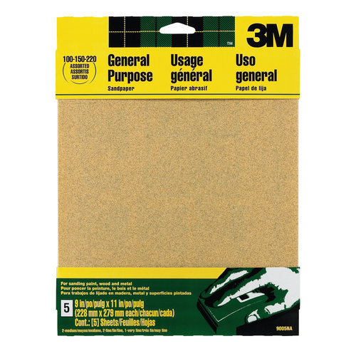 3M Aluminum Oxide Sandpaper, 9 in x 11 in, Assorted grit, 5/pk, Open Stock