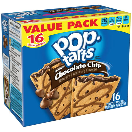 - (3 Pack) Kellogg's Pop-Tarts Breakfast Toaster Pastries, Frosted Chocolate Chip Flavored, Value Pack, 29.3 oz 16 Ct