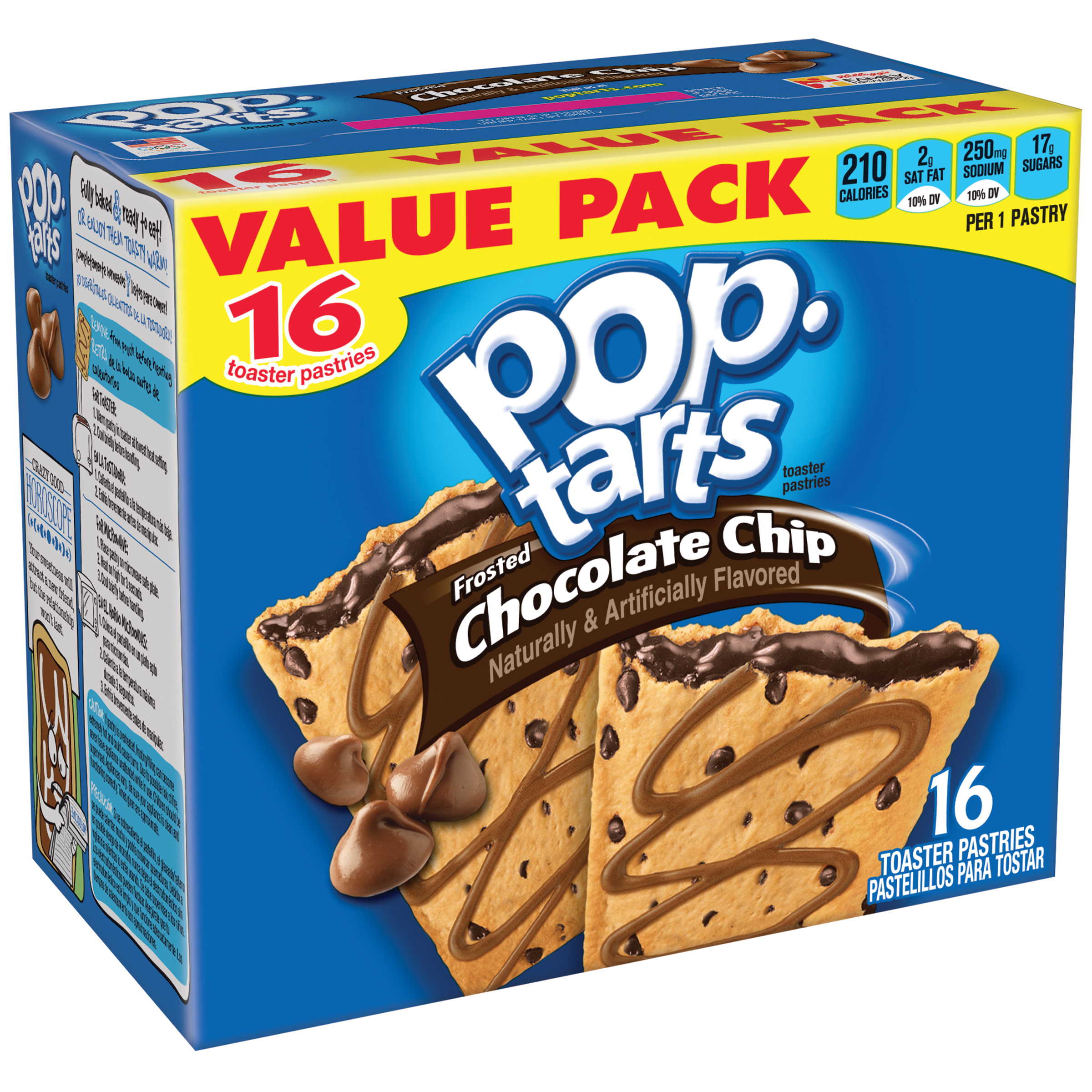 Kellogg's Pop-Tarts, Frosted Chocolate Chip Flavored, 29.3 oz 16 Ct