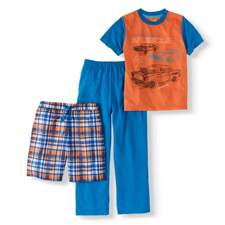 Boys With Muscles (Cherokee Boy's Muscle Car Tee, Shorts and Pants 3-Piece Sleep Set (Big Boys & Little)