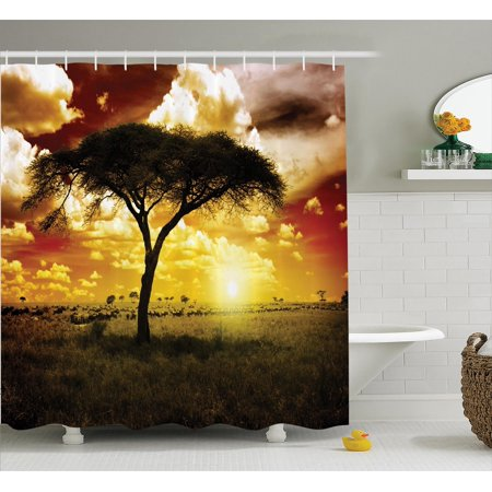 Safari Decor Shower Curtain Set, Single Tree At Dreamy African Sunset With Dark Dramatic Clouds On The Sky Art Photo, Bathroom Accessories, 69W X 70L Inches, By Ambesonne