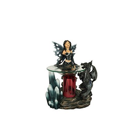 Dragon Oil Burner (Fairy Tart Warmer - Black Dragon Oil Burner - Polyresin )