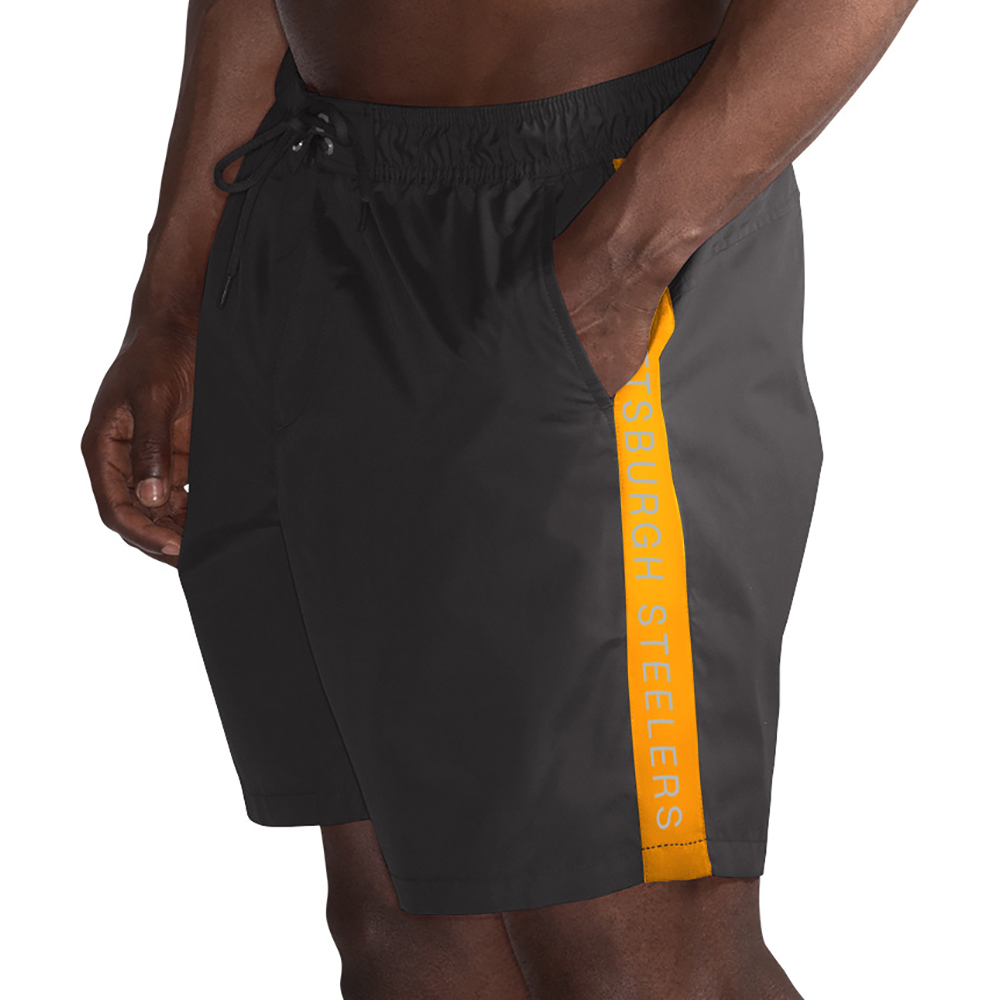 Pittsburgh Steelers G-III Sports by Carl Banks Volley Swim Trunks - Black/Gold