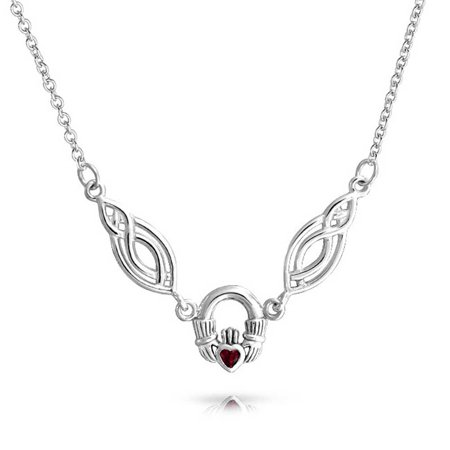 Red Garnet Irish Celtic Trinity Love Knot Claddagh V Collar Necklace For Women 925 Sterling Silver January Birthstone