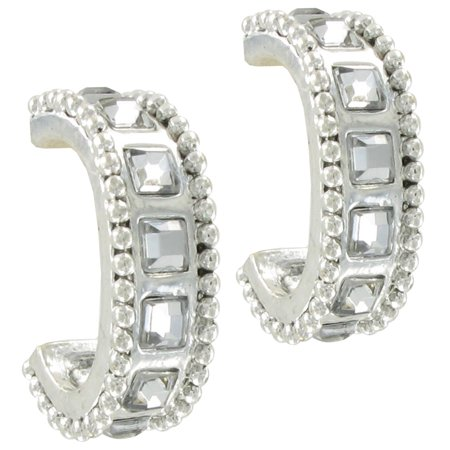 5 Mm Silver Rhinestone - Chicos Silver Tone Square Rhinestone Hoop Earrings