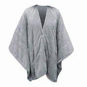 Serta | Wearable Silky Plush Heated Wrap / Throw Blanket (Gray) NEW