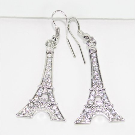 Eiffel Tower Dangle (LF7 Womens Paris Eiffel Tower Bling Rhinestone Dangle Fashion)