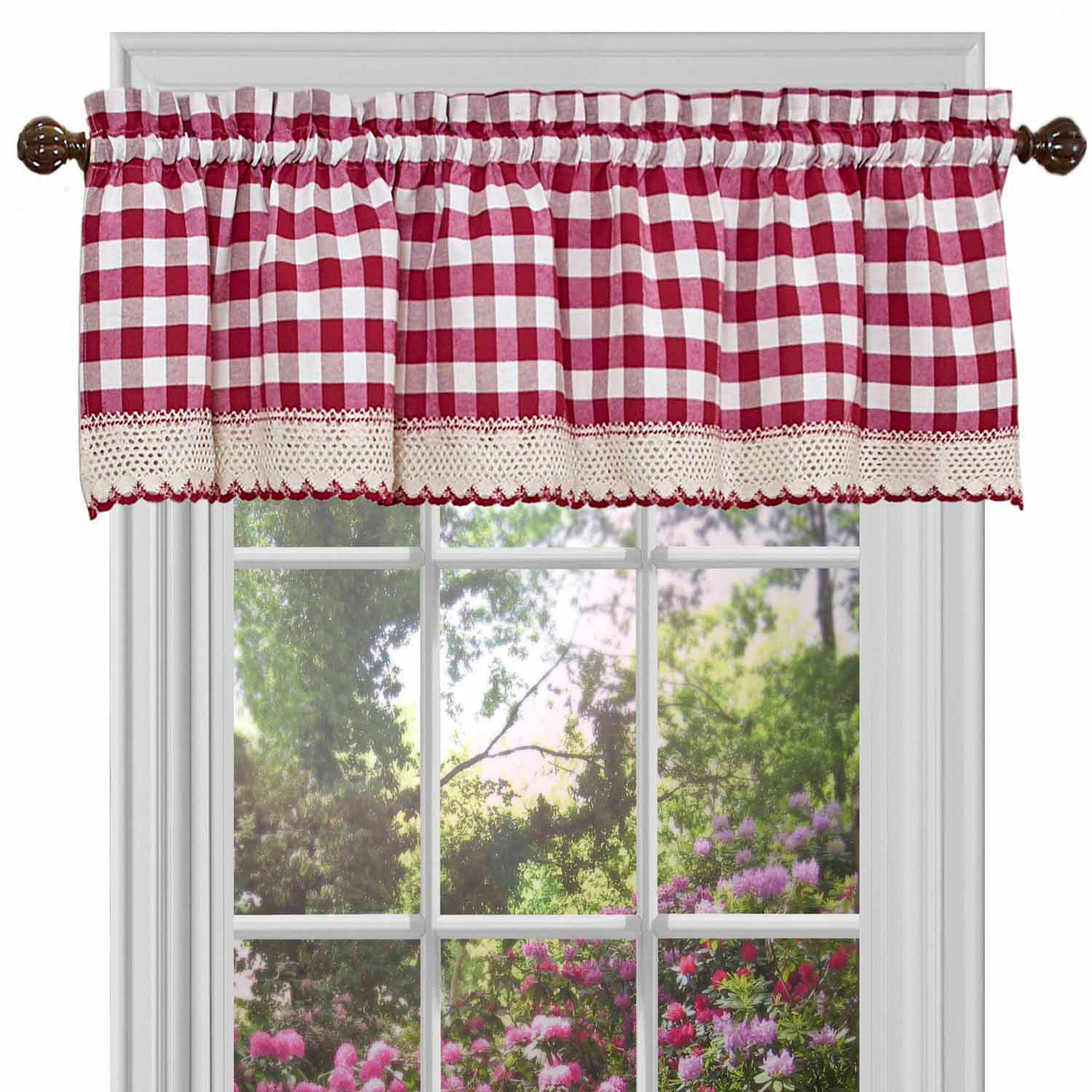 fascinating Red Curtains Valance Part - 7: Achim Buffalo Check Window Curtain Valance - 58x14 - Walmart.com