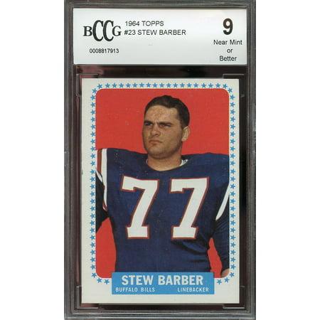 (1964 topps #23 STEW BARBER buffalo bills rookie card BGS BCCG 9)
