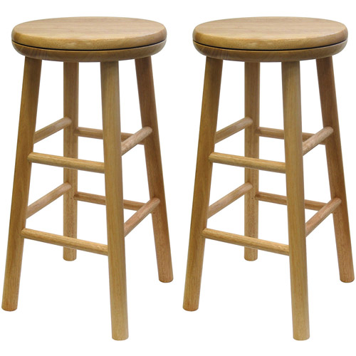 """Winsome Wood Oakley 25"""" Swivel Seat Counter Stools, Set of 2, Natural, Multiple Finishes"""