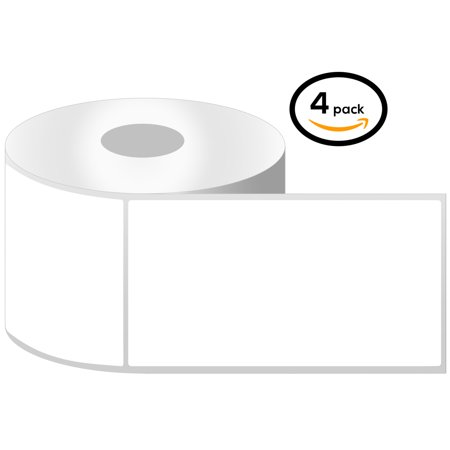 "OfficeSmartLabels 4"" x 6"" Thermal Transfer Labels, Zebra Compatible Labels (4 Rolls, 250 Labels Per Roll, 1 inch Core, White, 4"" Diameter, Perforated)"