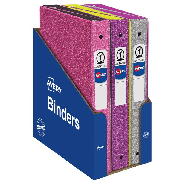 Avery Glitter Binder With 1 Round Ring, 175-Sheet Capacity