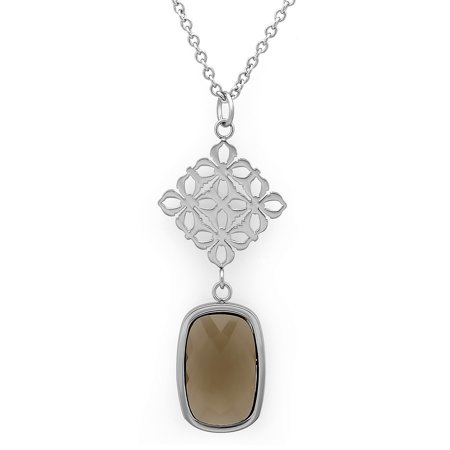Tone Rectangle Pendant - Women's Stainless Steel Glass Rectangle Pendant