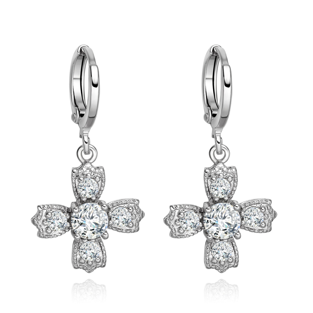 Beautiful Magic Viking Style Cross Powers Snow White Sparkling Crystals Silver-Tone Fashion Earrings