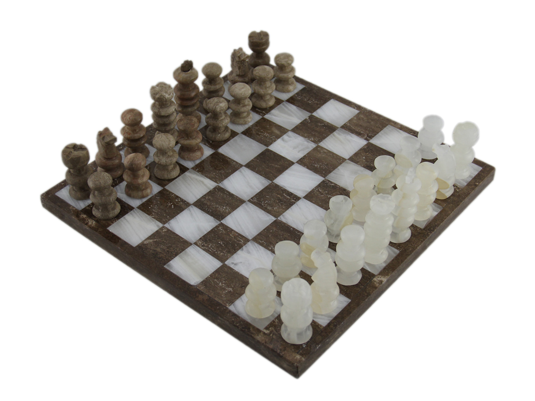 Brown and White Marble and Onyx Chess Set 10 3 4 Inch Board by Handcrafted Originals
