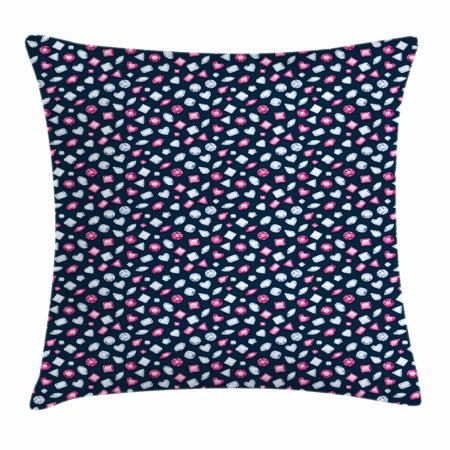 Diamonds Throw Pillow Cushion Cover, Round Marquise Square and Heart Shape Arrangement on Dark Color, Decorative Square Accent Pillow Case, 18 X 18 Inches, Dark Blue Pink Baby Blue, by Ambesonne