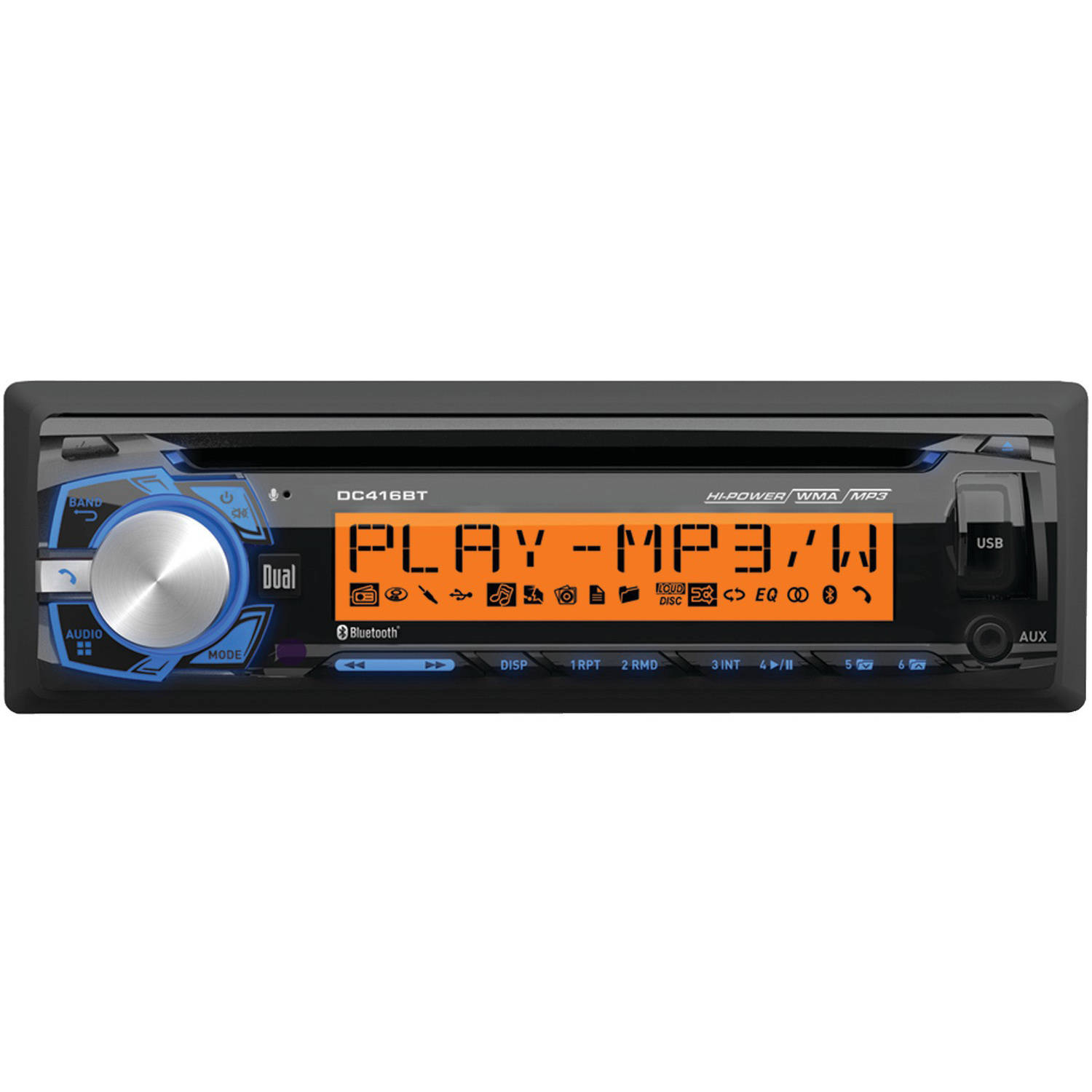 Dual Electronics DC416BT Single-DIN In-Dash AM/FM/MP3 CD Receiver with Bluetooth