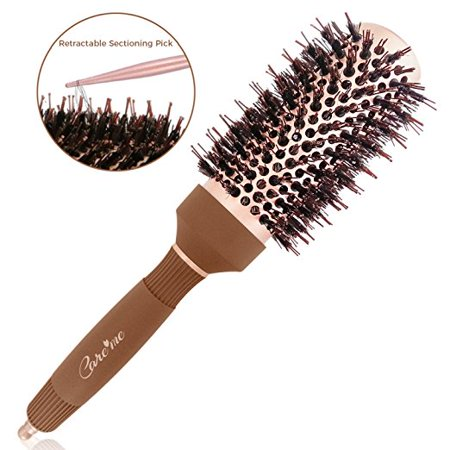 Care me Blow Dry Round Vented Hair Brush with Boar Bristles for Blowouts (1.7 inch) - Professional Salon Styling Brush for Healthy Shiny Frizz-Free Hair, Straight or Curl (Hair Brush Fast Dry)
