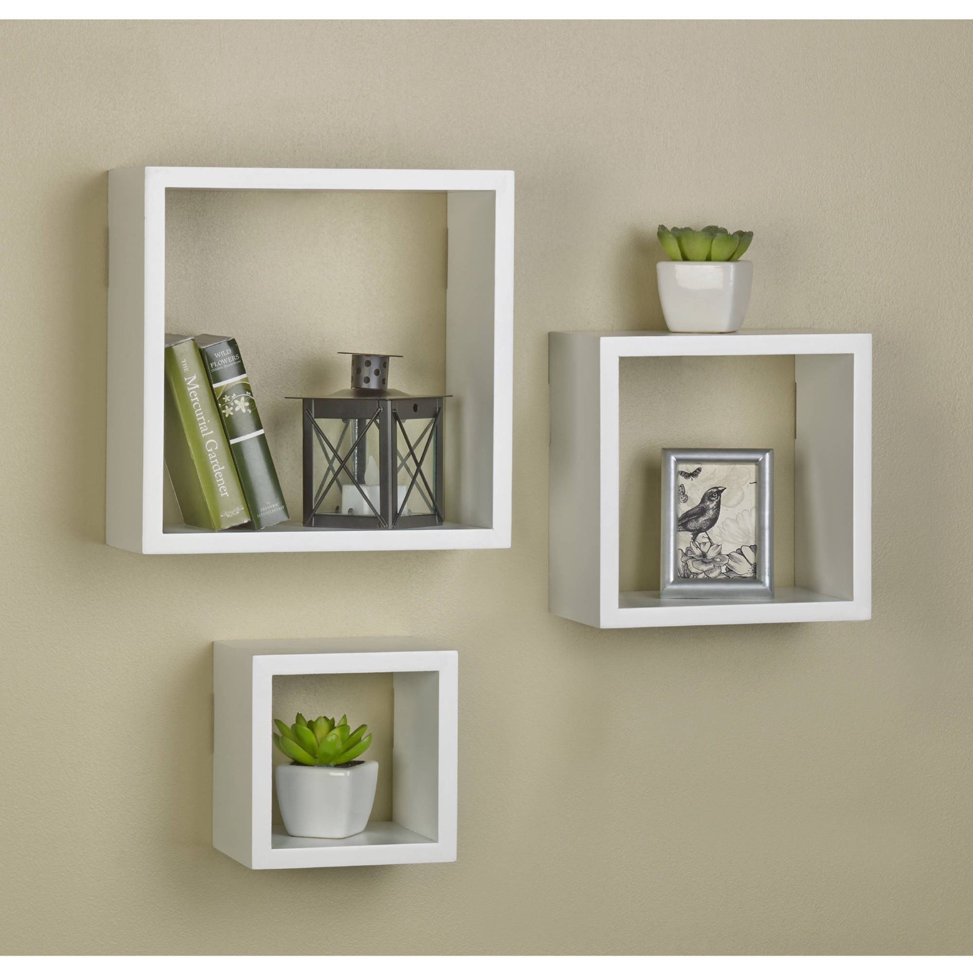 Melannco Set of Three White Nesting Cube Shelves, Hardware Included