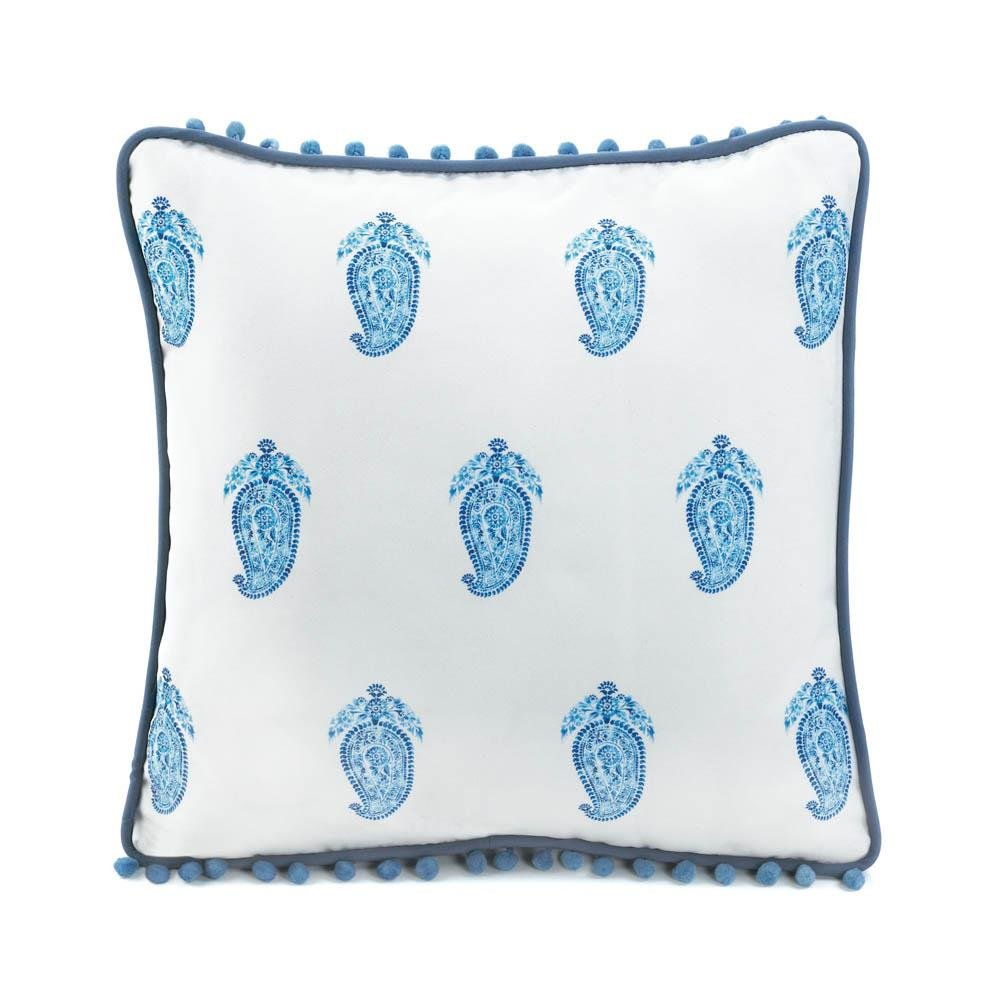 Sofa Pillows Decorative, Tasseled Blue Modern Square Fancy Throw Pillows For Bed by Accent Plus