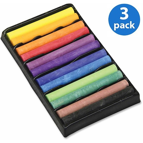 (3 Pack) Creativity Street, CKC9732, 12-color Drawing Chalk Set, 12 / Set, Assorted