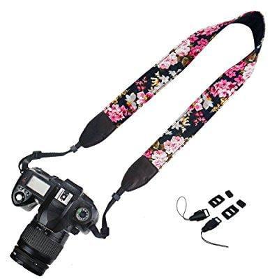 elvam camera neck shoulder strap belt for nikon / canon / sony / olympus / pentax / mini 9 / mini 8 / mini 7s / mini 25 / mini 50s / mini 90 / dslr / slr / dc / fujifilm instax camera - floral