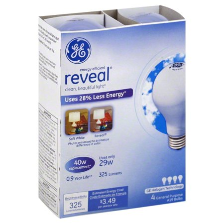 GE 29W Reveal General Purpose Light Bulb 4-Pack ()