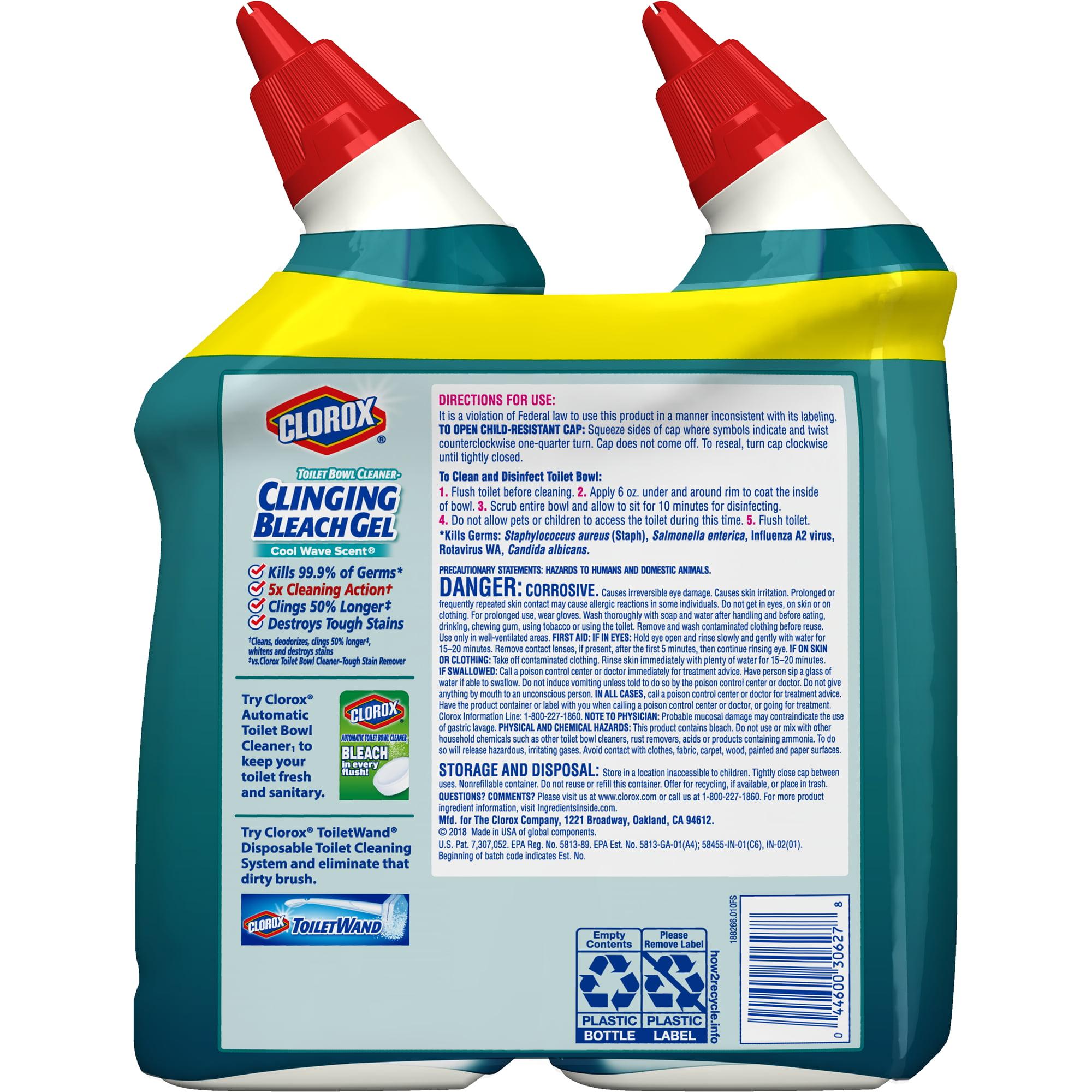 Clorox Toilet Bowl Cleaner Clinging Bleach Gel, Cool Wave - 24 oz, 2 ...