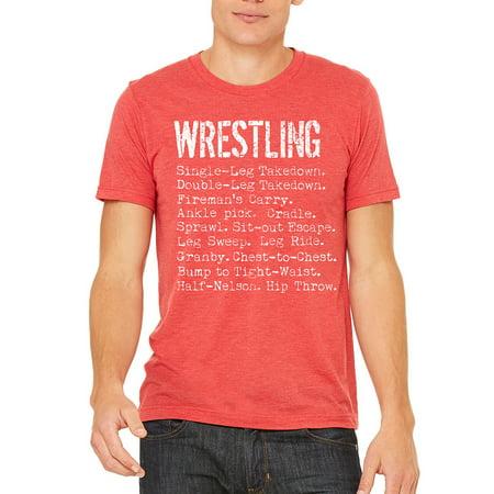 Men's Wrestling Moves Red Tri Blend T-Shirt C1 Small - American Apparel Tri Blend