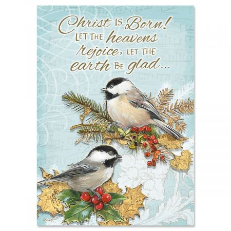 Holiday Birds Religious Christmas Greeting Cards- Set of 18 Holiday Greeting Cards - Religious Christmas Card Sayings
