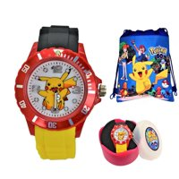 Pokemon Pikachu Gift Set. Silicone Unisex Quartz Analog Wrist Watch & Drawstring Gym/School/Shoes Bag.