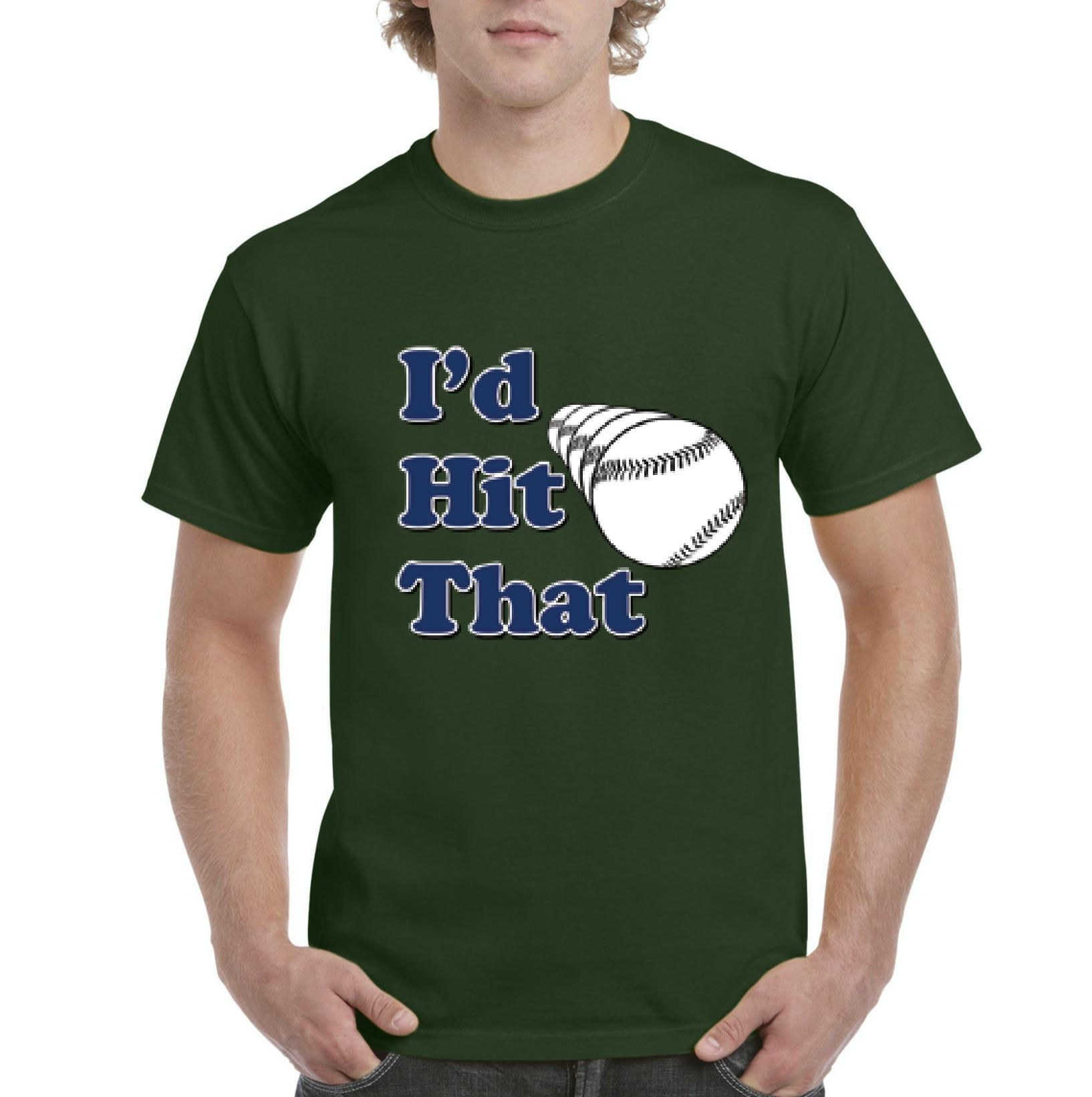 J_H_I Id Hit That Softball Baseball Gift for Birthday Fathers Day Events Mens Shirts